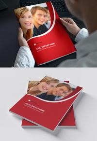 红色弧形动感时尚画册封面