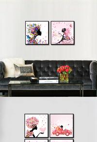 粉色女孩可爱家居装饰画设计