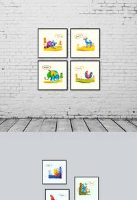 彩色卡通动物家居无框画设计