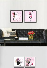 粉色女孩家居装饰画设计