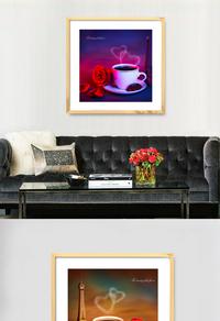 咖啡炫彩无框画设计