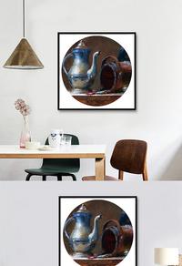 古典茶壶油画装饰画高清下载