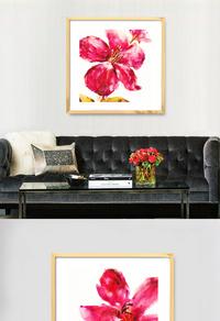 华丽红色花朵无框画设计
