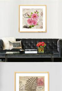 粉色花朵无框画设计