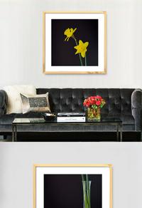 唯美黄色花朵装饰画设计