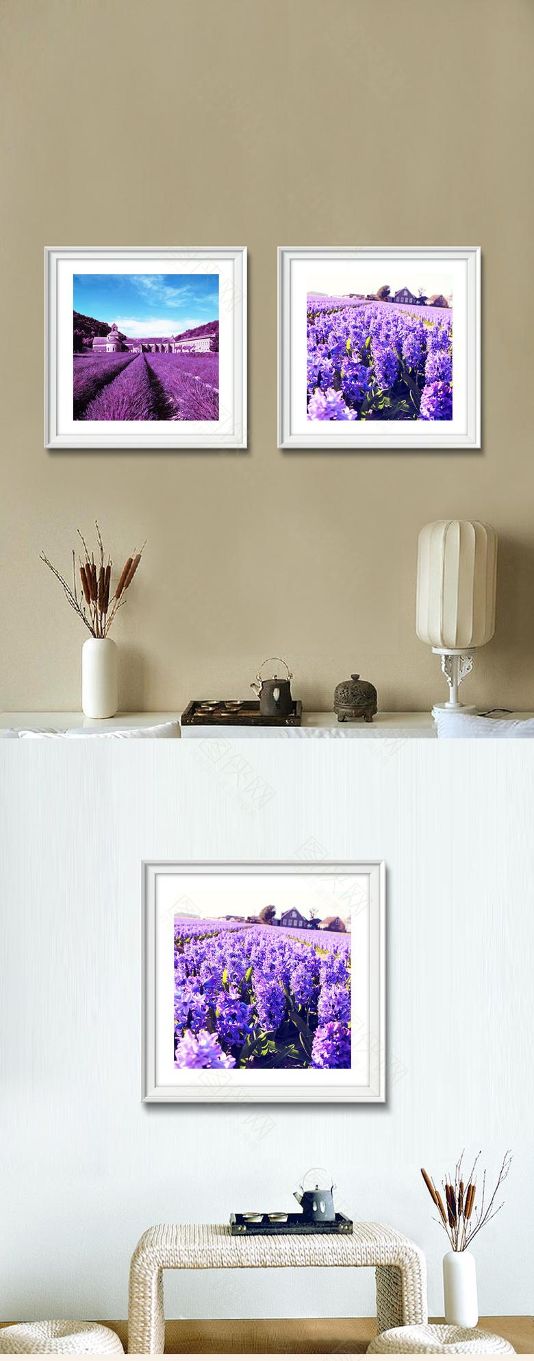 紫色薰衣草装饰画高清下载