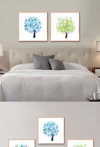 彩色发财树装饰画设计