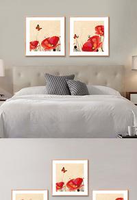 红色花朵无框画设计