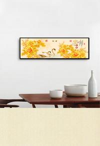 金色花卉高清无框画设计下载