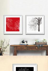 现代简约大树无框画设计
