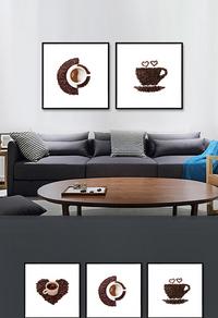 现代创意咖啡杯装饰画设计
