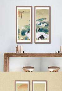 中国风水墨荷花挂画设计