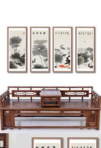中国风水墨荷花无框画设计