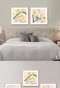 金色花朵无框画设计