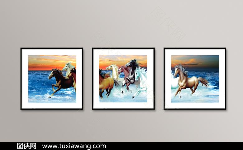 八骏马装饰画设计