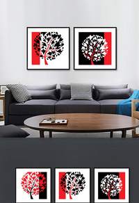抽象发财树装饰画设计