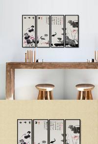 高清水墨荷花PSD装饰画设计