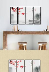 高清梅花山水挂画设计