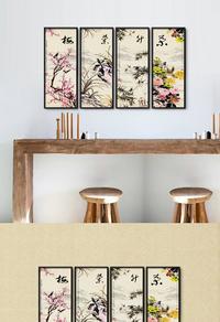 高清精美梅兰竹菊挂画设计