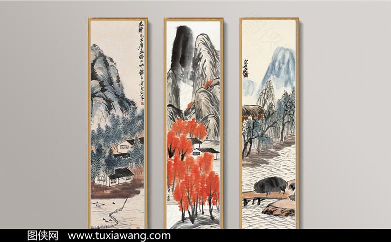 高清古典山水挂画模板设计下载