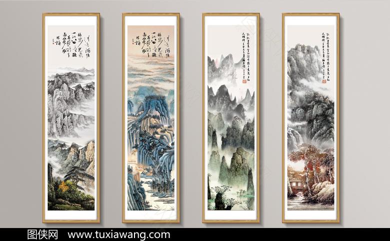 中式古典水墨挂画PSD模板下载