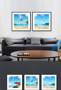 创新蓝色大海无框画设计