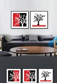 精品红色大树无框画设计