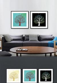 精美彩色大树装饰画设计