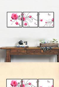 粉色花卉无框画下载