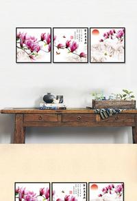 创意红色花卉无框画设计下载