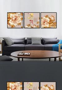 金色牡丹花装饰画设计