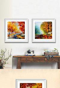精美油画树林装饰画设计
