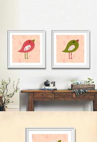 精美卡通小鸟无框画设计