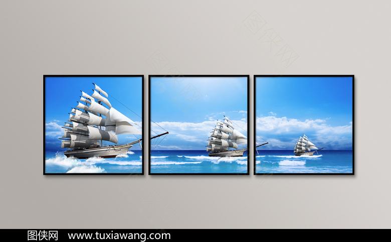 精美拼接帆船装饰画设计