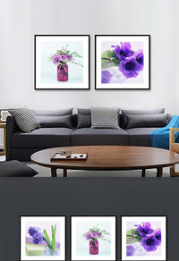 创意紫色花卉无框画设计下载