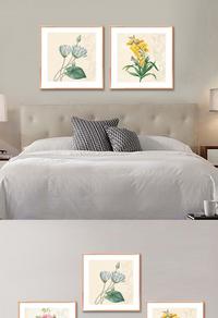 复古花朵无框画设计