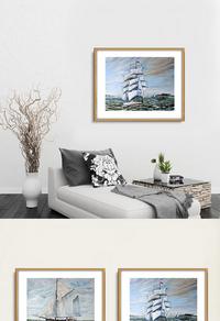 经典手绘船只装饰画设计