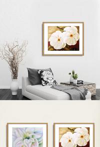 创新白色花朵装饰画设计