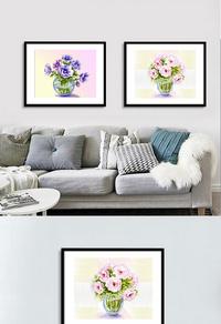 经典手绘花卉无框画设计
