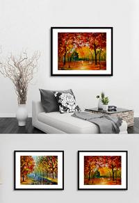 高清红色树林无框画设计下载