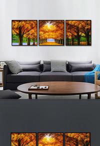 创新拼接树林装饰画设计