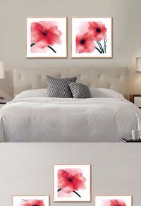 高级拼接粉色花卉无框画设计