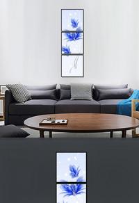 精选拼接蓝色花卉装饰画设计