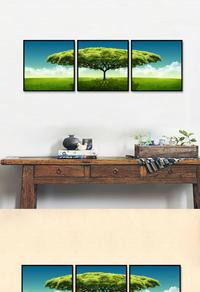 高档拼接绿树无框画设计