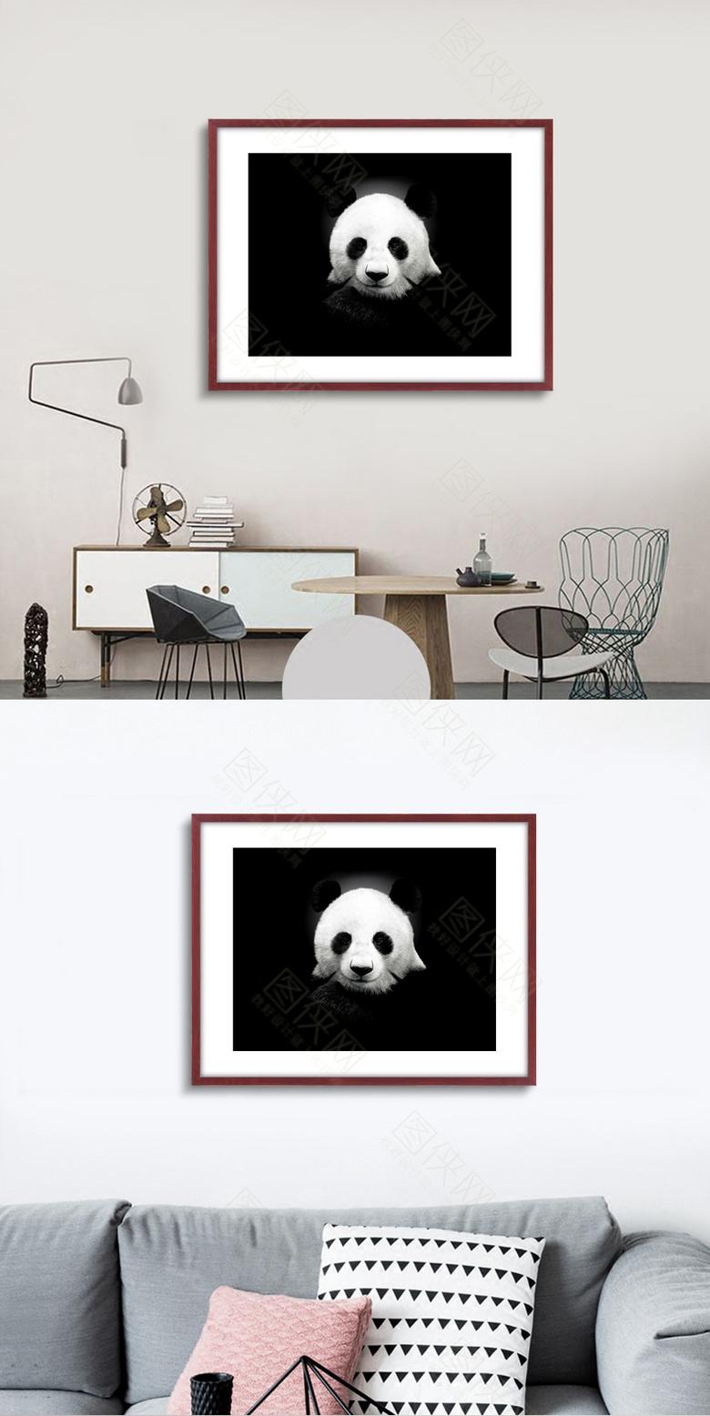 高清熊猫无框画设计下载