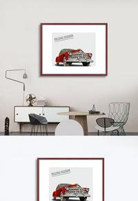创意汽车无框画设计下载