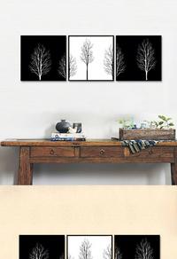 精美黑白植物无框画设计