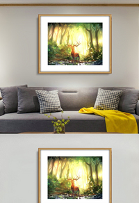 创意树林麋鹿无框画设计