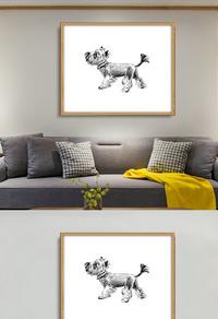 创意灰色狗狗无框画设计