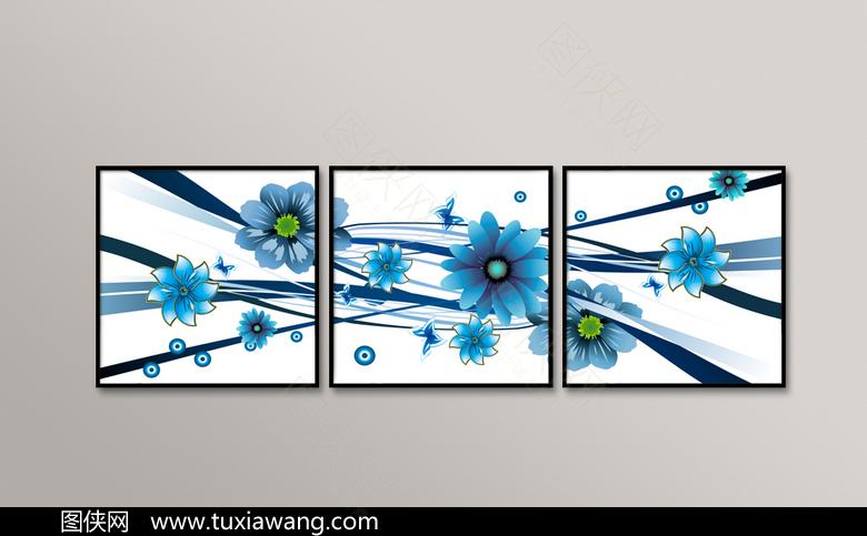 高清拼接蓝色花卉装饰画设计